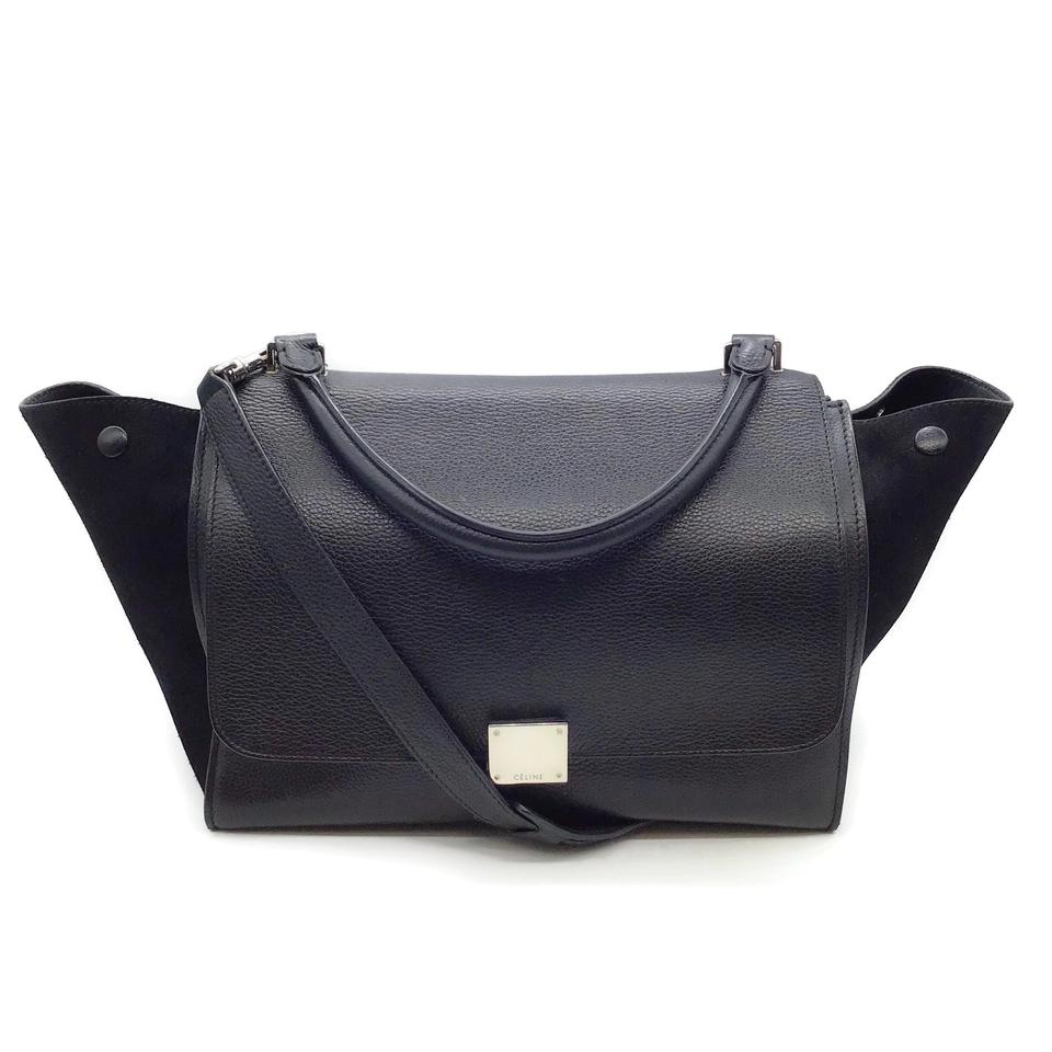 Céline Flap Black Leather/Suede Tote