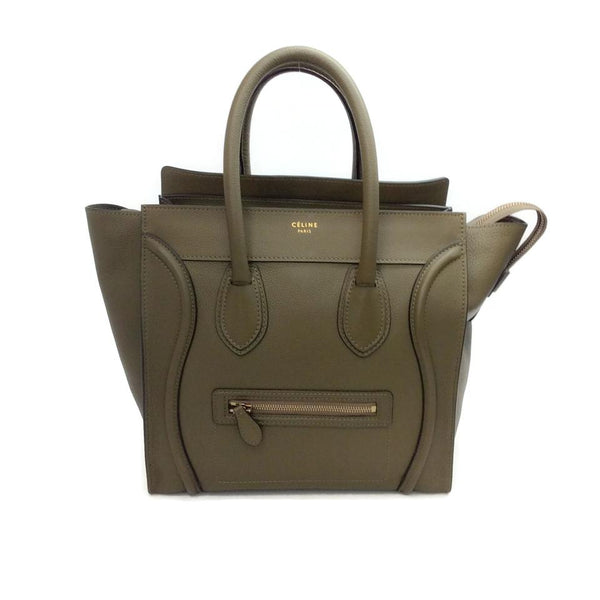 Céline Luggage Mini Olive Green Drummed Leather Tote