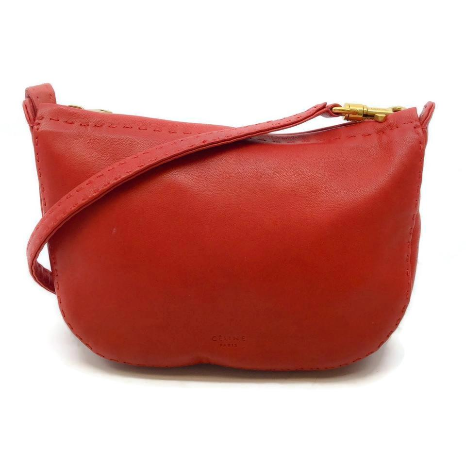 Céline Red Lambskin Leather Cross Body Bag