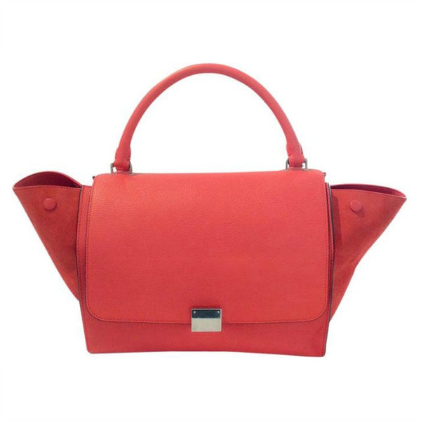 Coral Trapeze Bag With Strap by Cèline