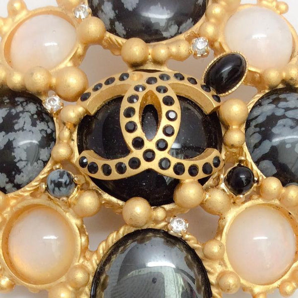 Autumn 2001 Pastel Jeweled Brooch by Chanel front logo