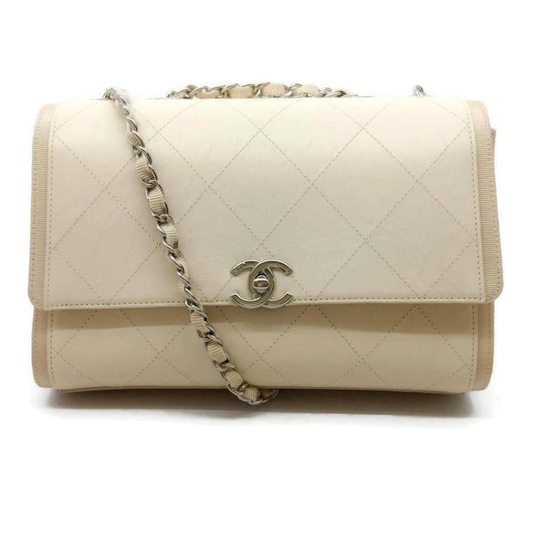 Chanel Aged Calf Light Beige Cowhide Leather Shoulder Bag
