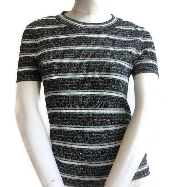 Chanel Black / Green / Gray Striped Tee Shirt