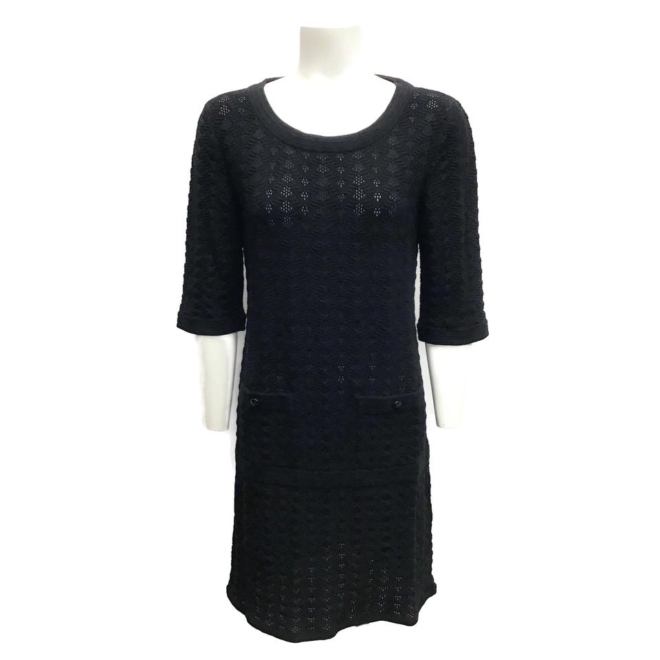 Chanel Black Sheer Knit Dress
