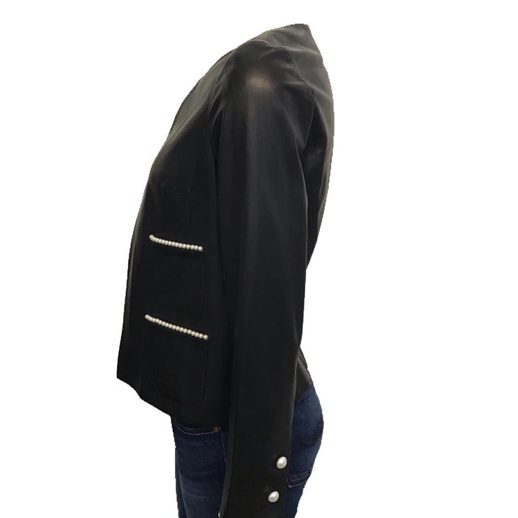 Chanel Black Lamb Leather Pearl Detail Jacket