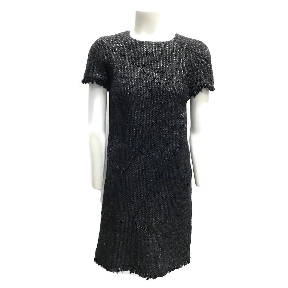 Chanel Black Metallic Tweed Dress