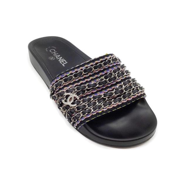 Chanel Black Multi Knit/Chain Slide Sandals