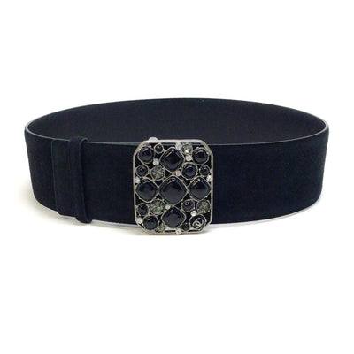 Chanel Black Suede Stone Embellished Buckle Belt