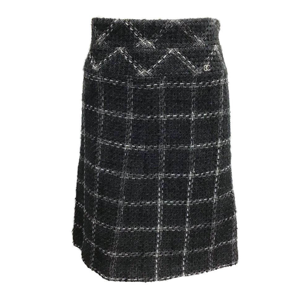 Chanel Black/Grey Wool Plaid Skirt