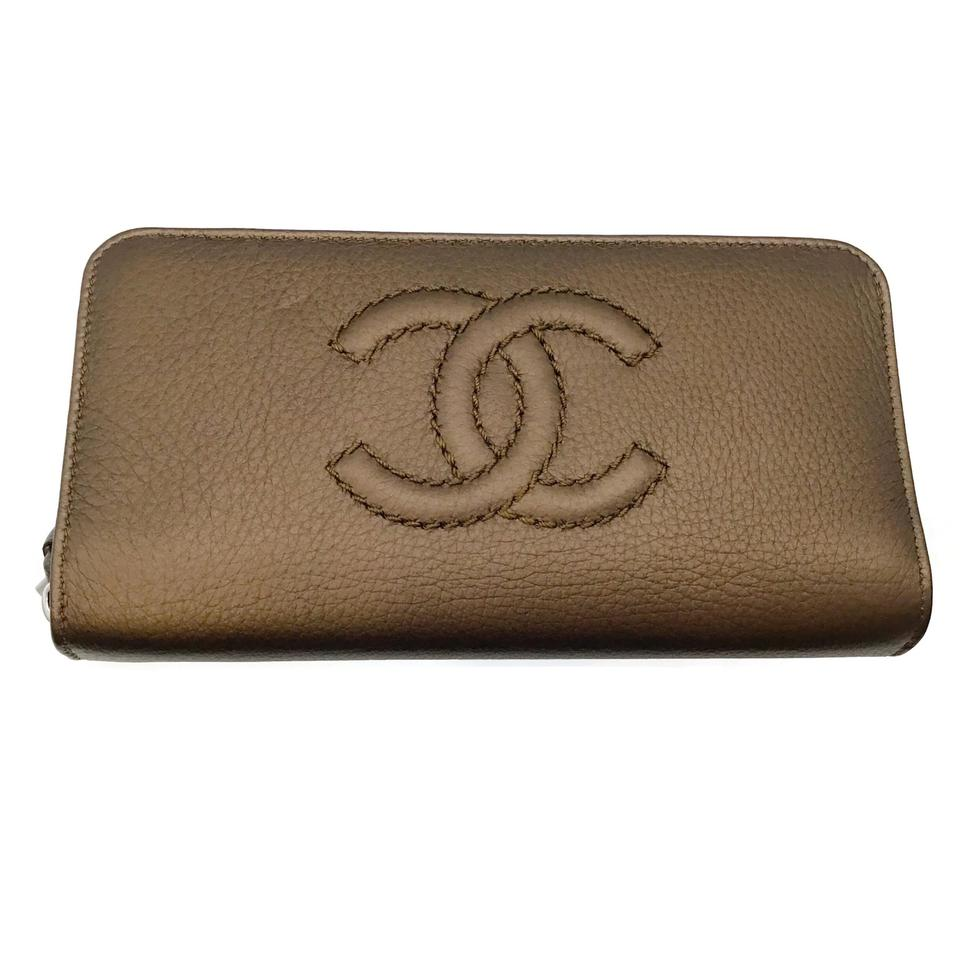 Chanel Bronze Leather Zip Wallet
