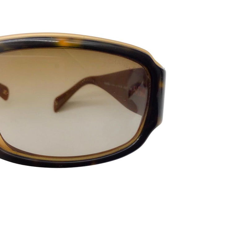Chanel Brown/Gold Cc Logo Sunglasses