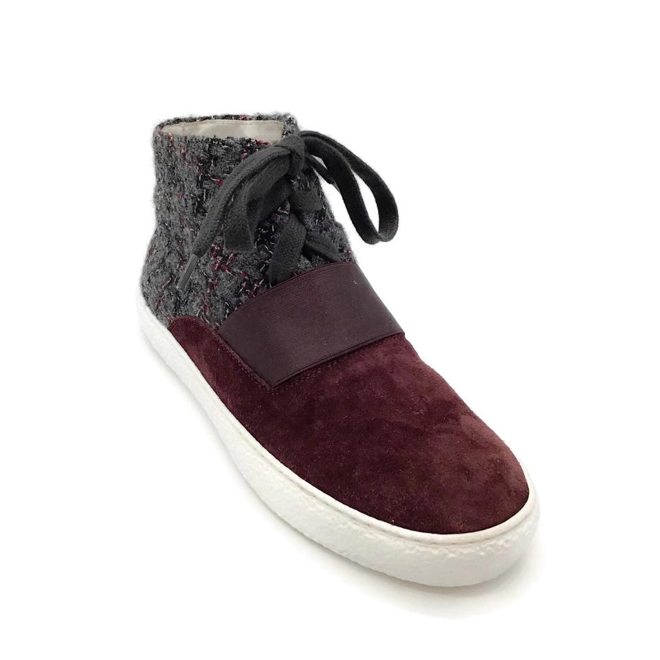 Chanel Burgundy/Grey Suede/Tweed Sneakers