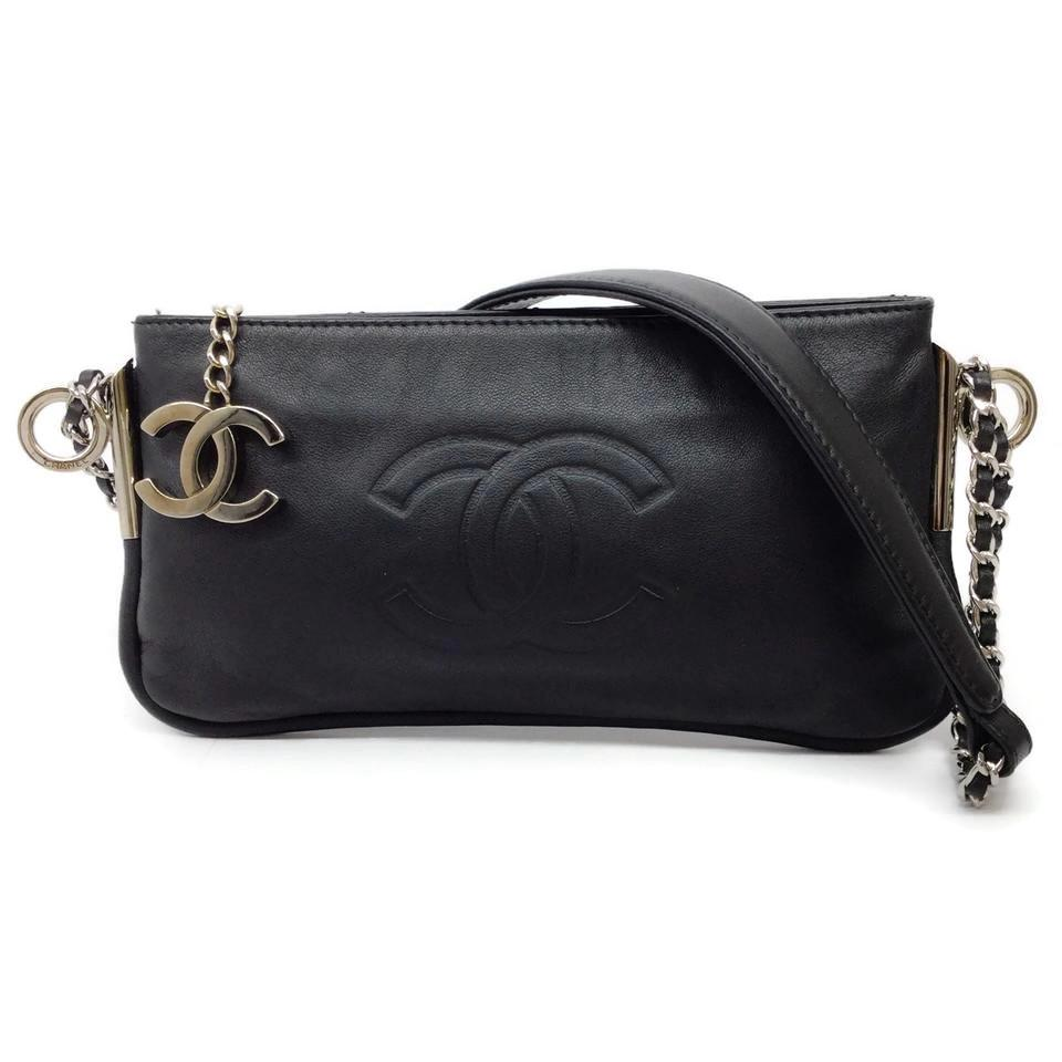 Chanel Classic Black Lambskin Leather Shoulder Bag