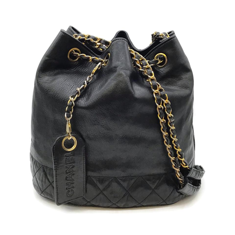 Chanel Drawstring Vintage Black Leather Bucket Bag