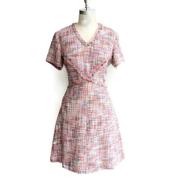 Pink Tweed Short Sleeve Dress by Chanel