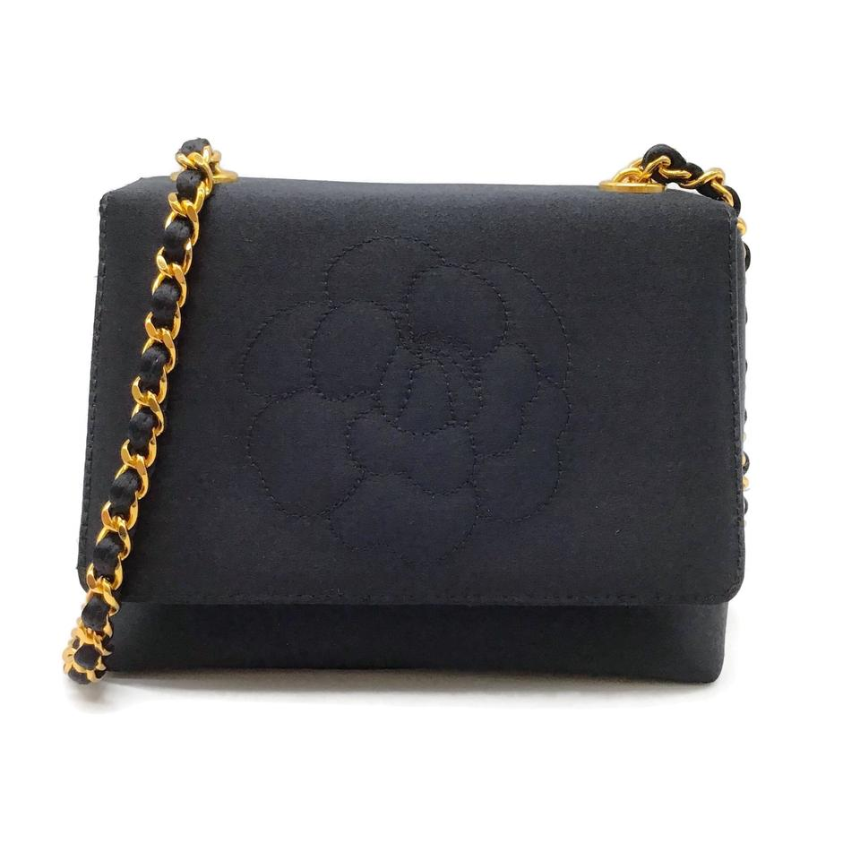 Chanel Floral Black Satin Shoulder Bag