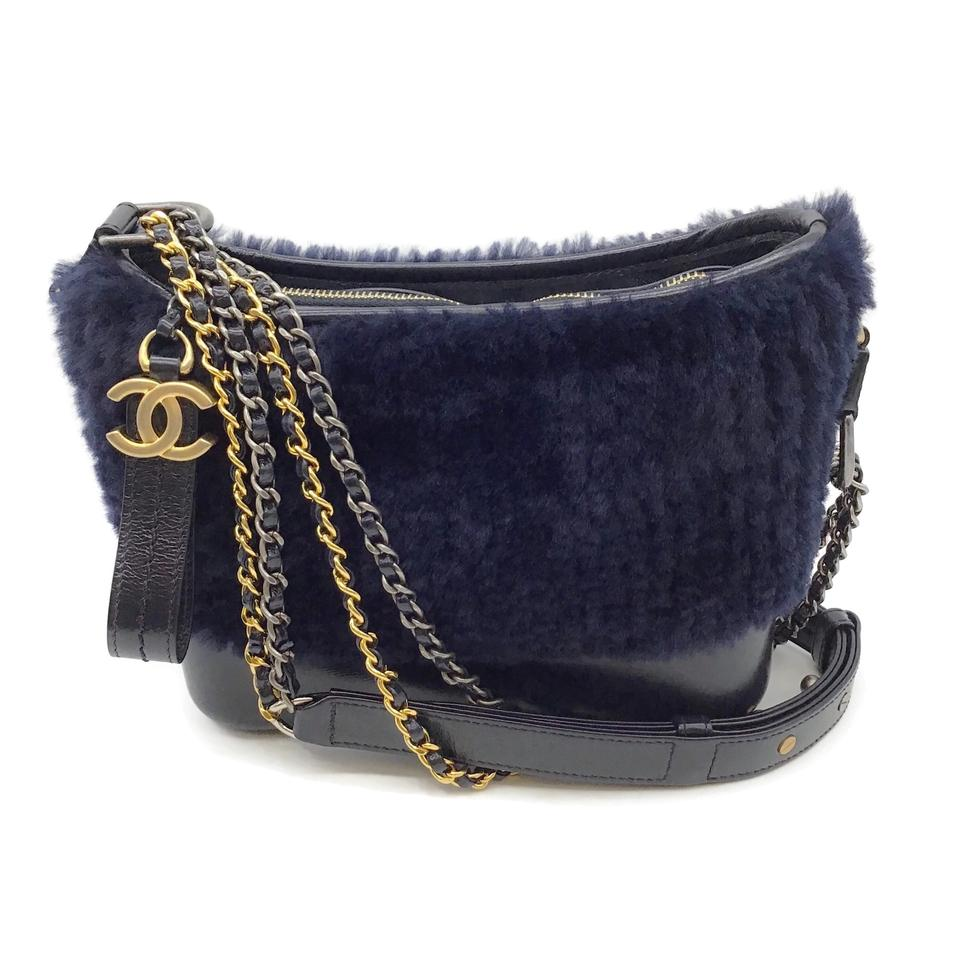 Chanel Gabrielle Hobo Navy Shearling/Leather Shoulder Bag