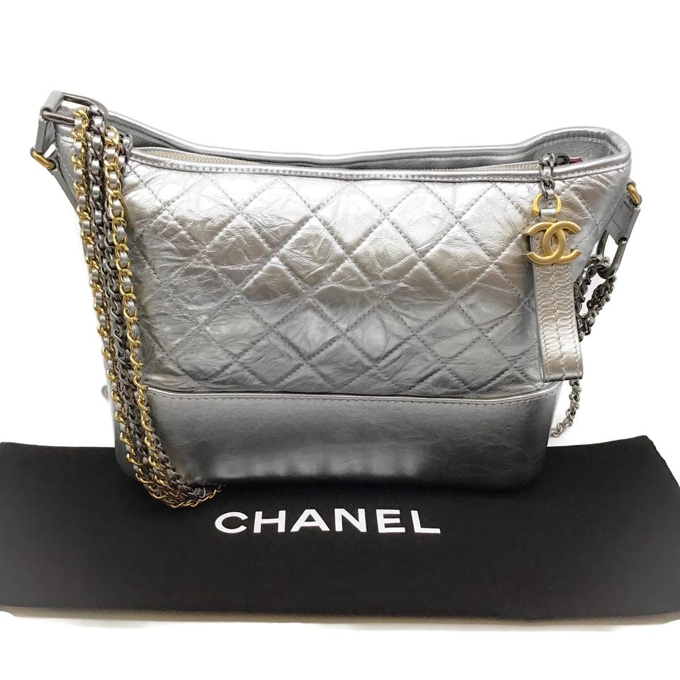 Chanel Gabrielle Silver Leather Shoulder Bag