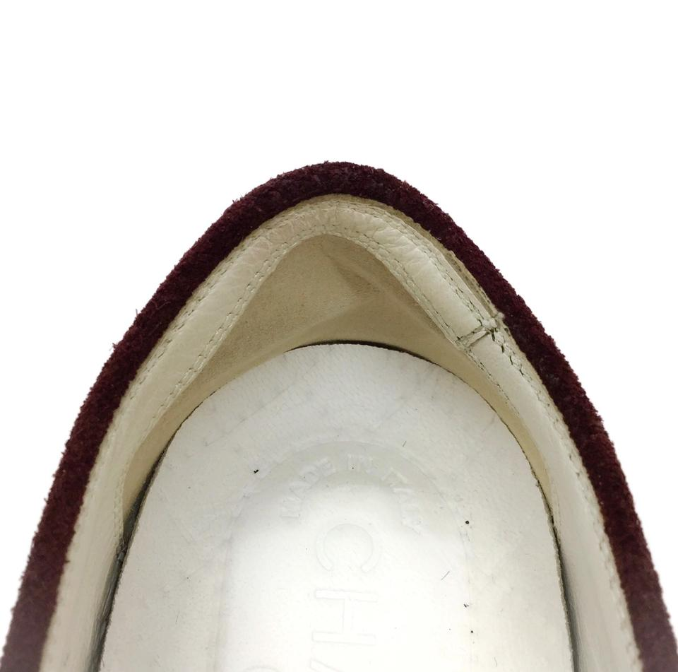 Chanel Grey / Oxblood Tweed Slip On Sneakers