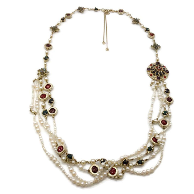 Chanel Multi-color Pearl/Jeweled Necklace
