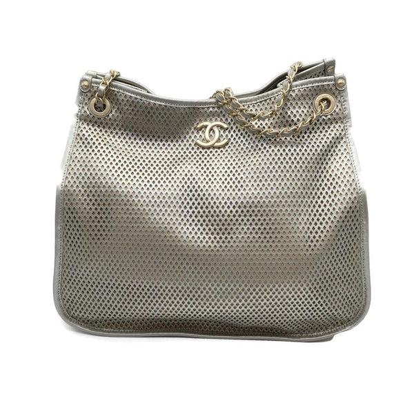 Chanel Perforated Pewter Leather Hobo Bag