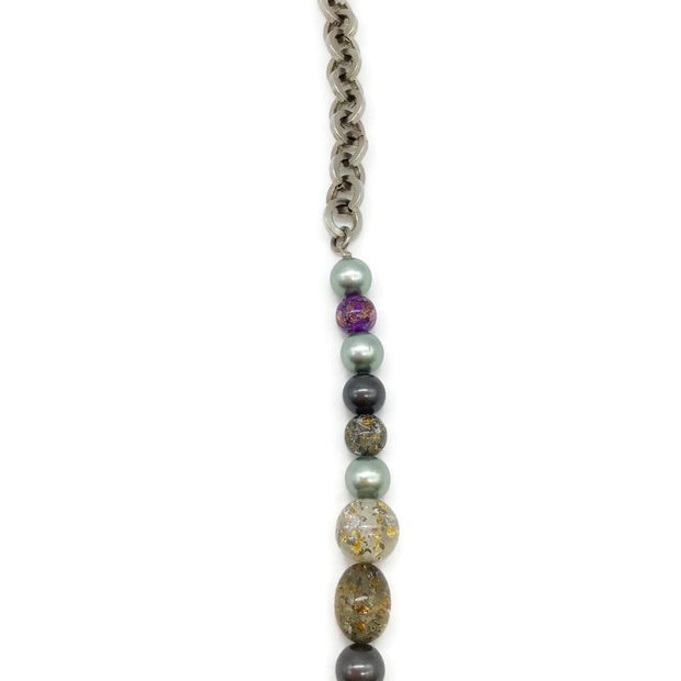 Chanel Purple/Olive Silver Tone Necklace