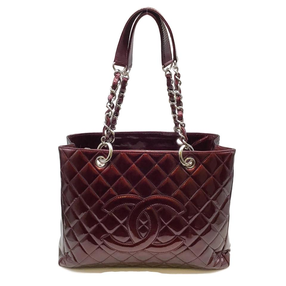 Chanel Quilted Bordeaux Patent Leather Tote