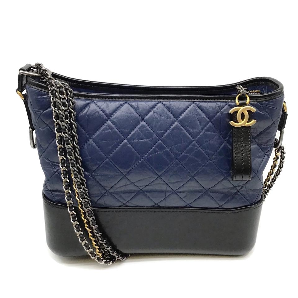 Chanel Gabrielle Navy/Black Leather Shoulder Bag