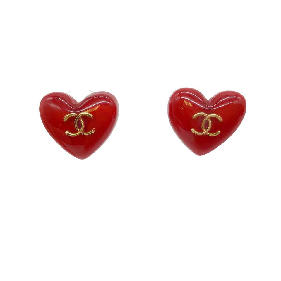 Chanel Red Heart Earrings