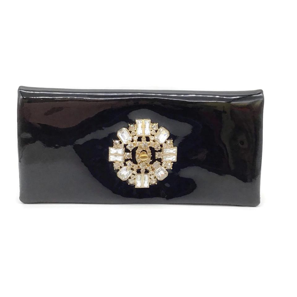 Chanel Rhinestone Black Patent Leather Clutch