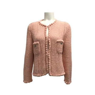 Chanel Rose Colored Crocheted Cardigan Sweater