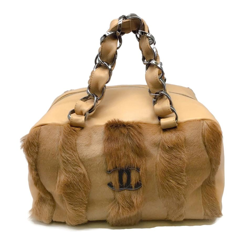 Chanel Square Tan Pony Fur Satchel
