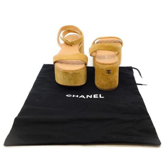 Chanel Tan Suede and Gold Logo Platforms