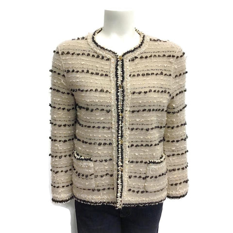 Chanel Tan/Black Wool Knit Blazer