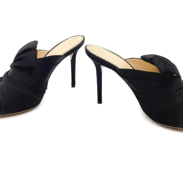 Charlotte Olympia Black Ilona Twisted Satin Mules/Slides