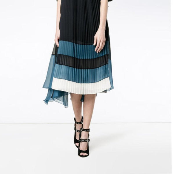 Chloé Black & Navy Rope Strap Plisse Cocktail Dress