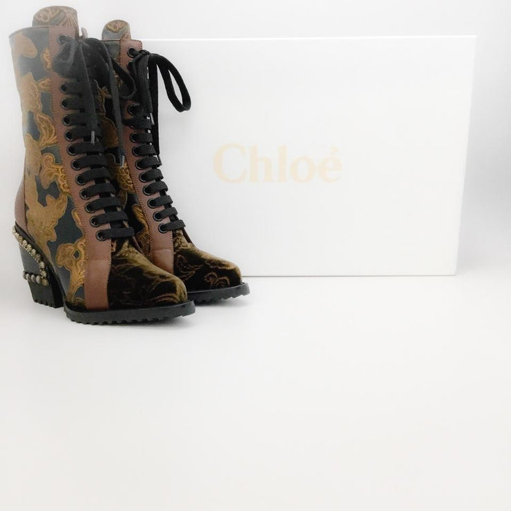Chloé Black / Brown Studded Heel Boots