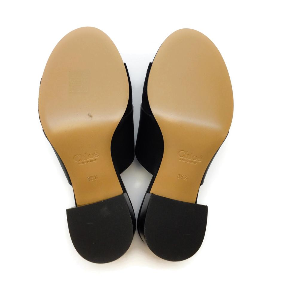 Chloé Black Logo Slide Sandals