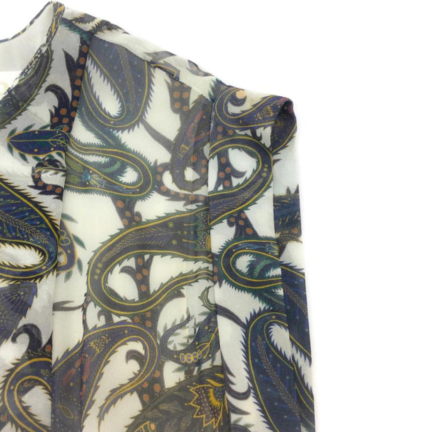 Chloé Blue / Yellow Asymmetrical Paisley Print with Lace Casual Dress