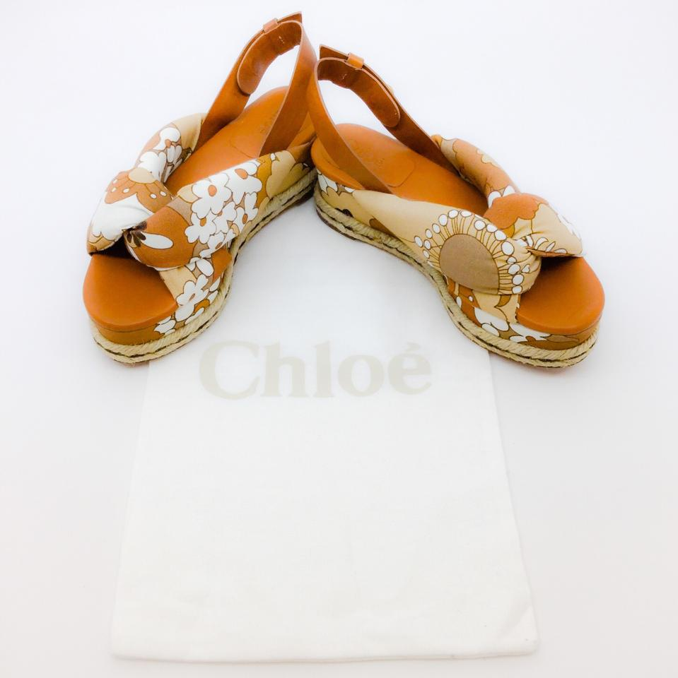 Chloé Brown / White Floral Sandals