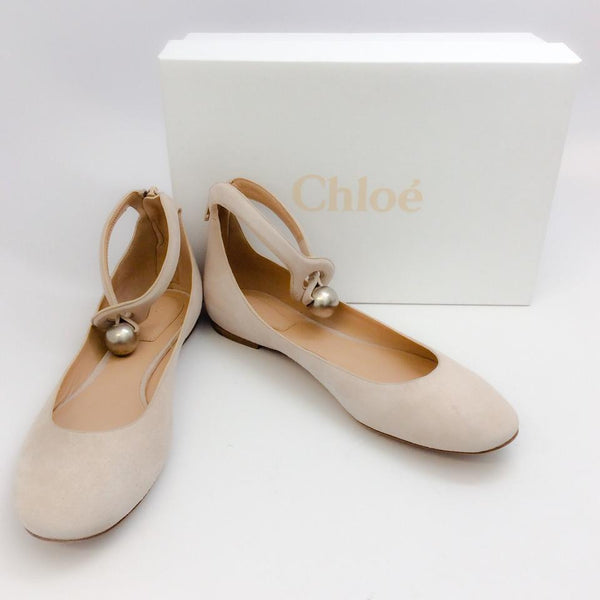 Cream Puff Ballet Flats by Chloe with box