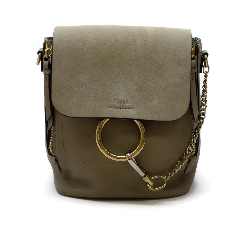 Chloé Faye Motty Grey Leather / Suede Backpack