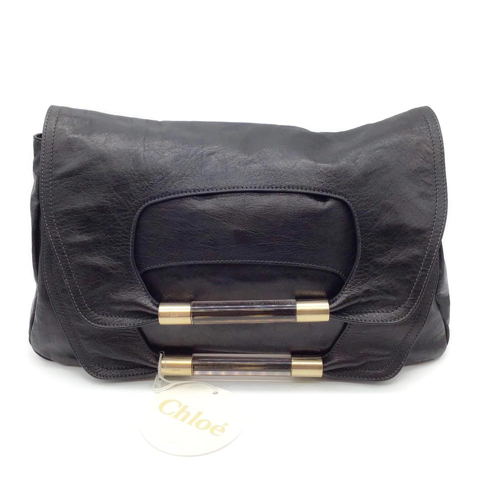 Chloé Foldover Black Leather Clutch