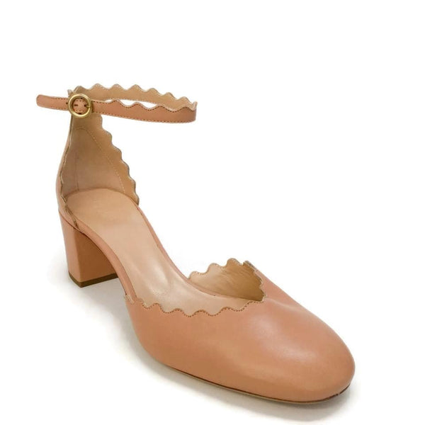 Chloé Nude Lauren Scalloped D'orsay Pumps