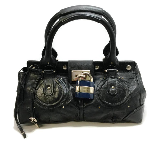 Chloé Paddington Key and Padlock Black Leather Satchel