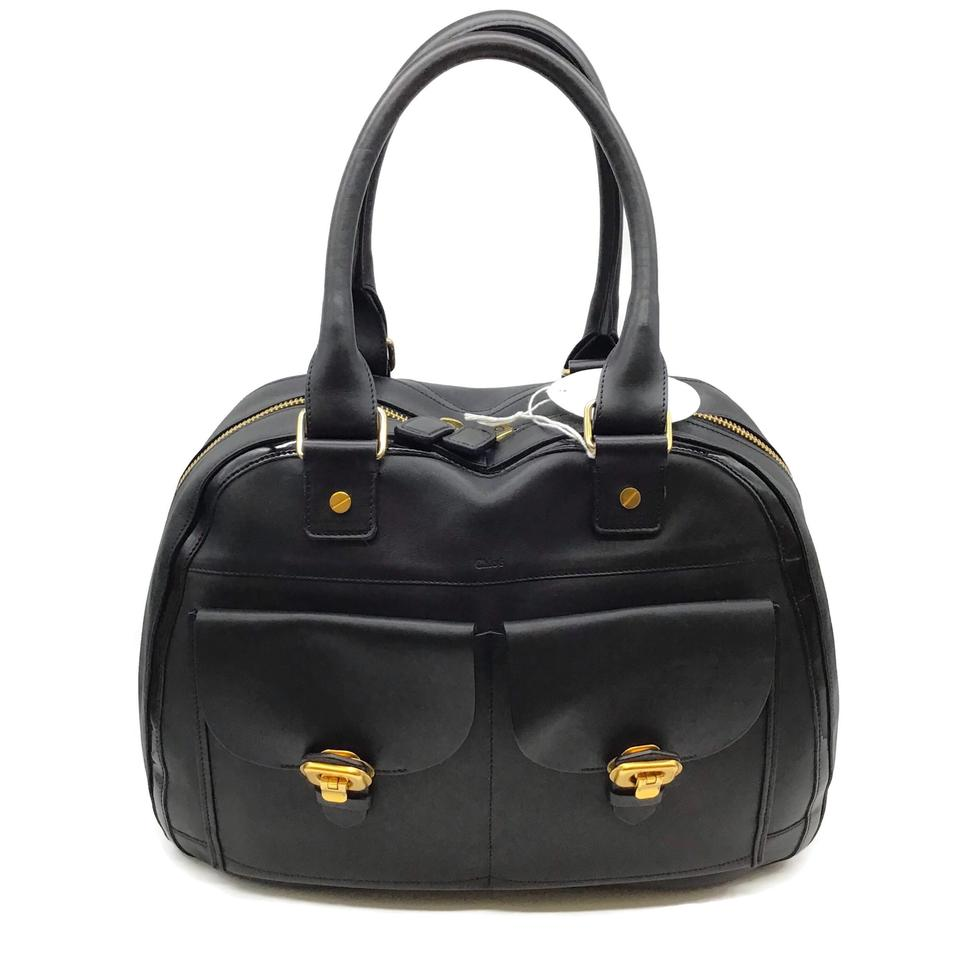Chloé Patent Trim Black Leather Satchel