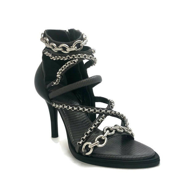 Chloé Pearly Black Chrome Chain Sandals