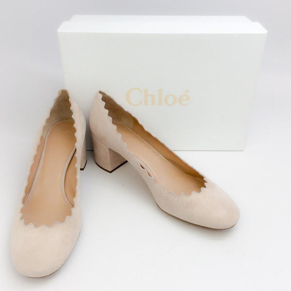 Scalloped Suede Nude Pumps by Chloe with box