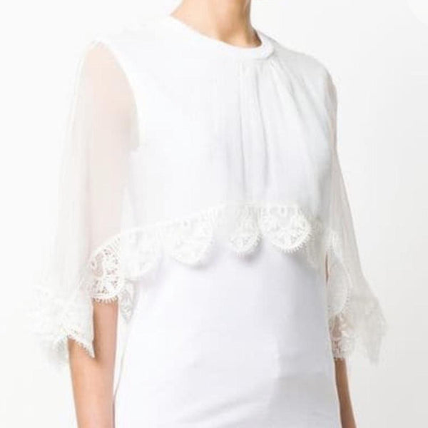 Chloé White Cotton Silk Lace Blouse