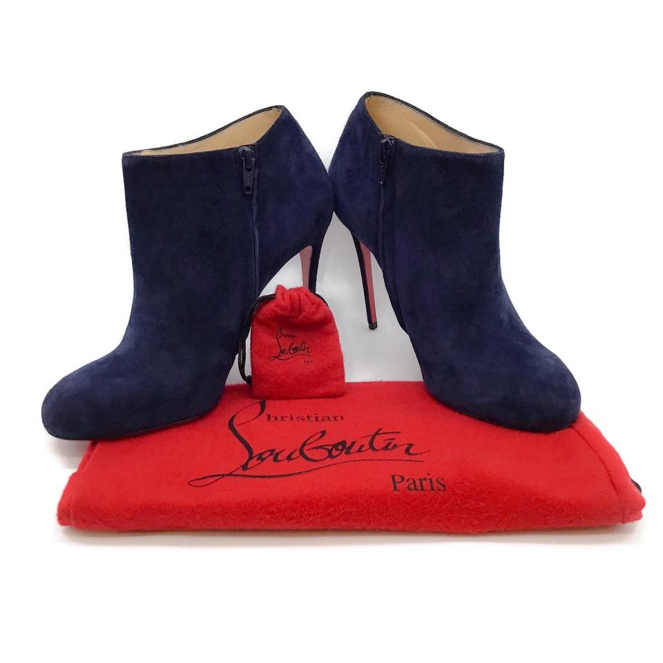 Christian Louboutin Navy Suede Booties